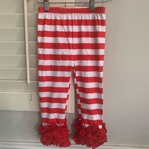 Other - White and white striped leggings with ruffles